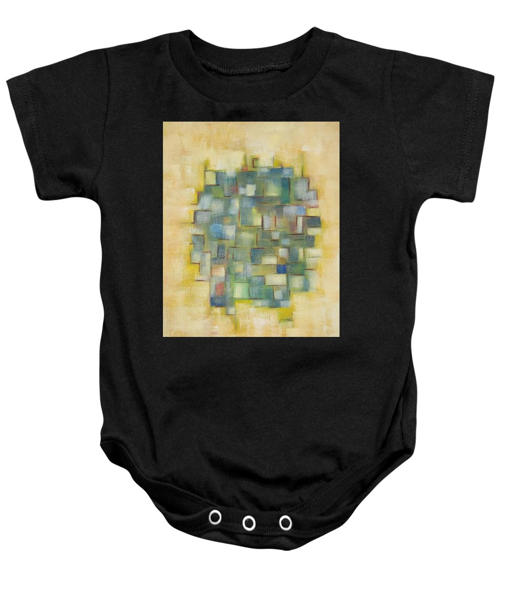 Abstract Baby Onesie featuring the painting Yellow With Green by Patricia Cleasby