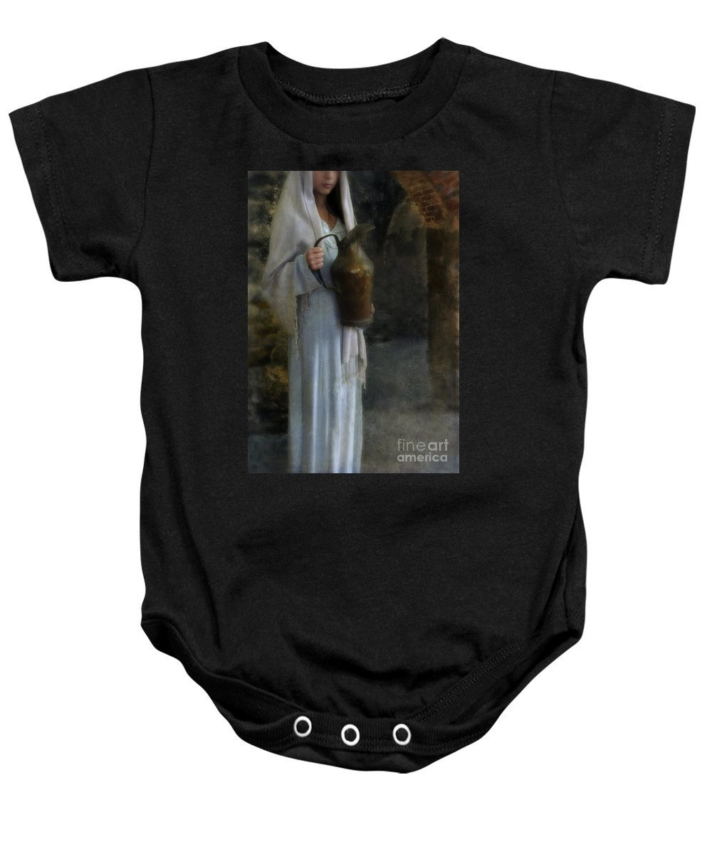 Woman Baby Onesie featuring the photograph Young Lady In Middle Eastern Clothing by Jill Battaglia