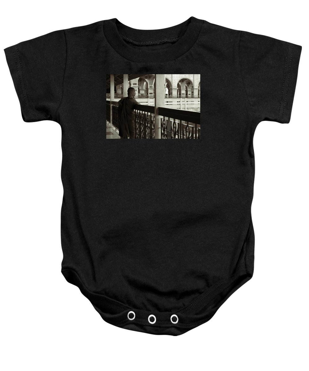 Monks Baby Onesie featuring the photograph Young Monks In Mandalay Hill by RicardMN Photography