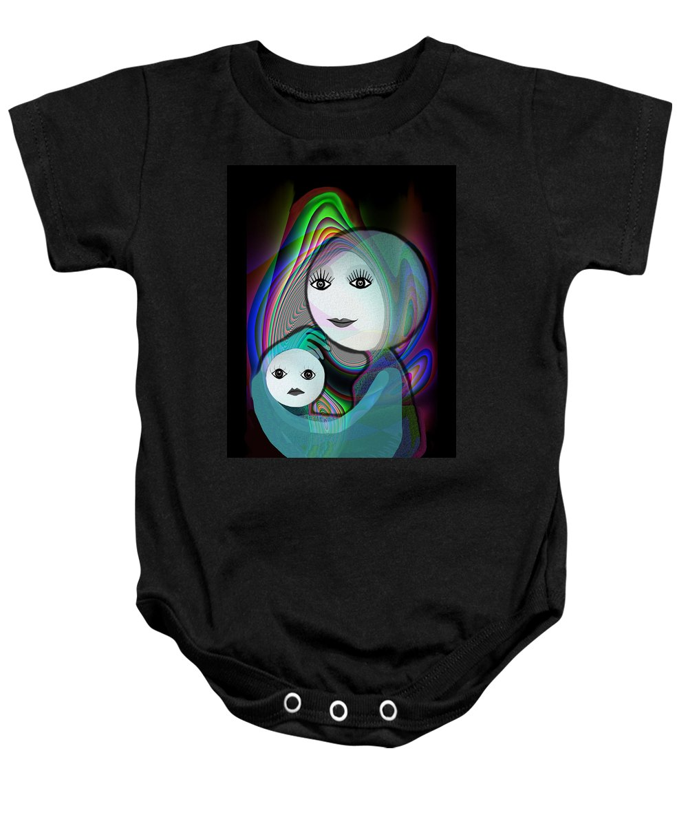 Mother And Child Baby Onesie featuring the painting 044 - Full Moon Mother And Child  by Irmgard Schoendorf Welch