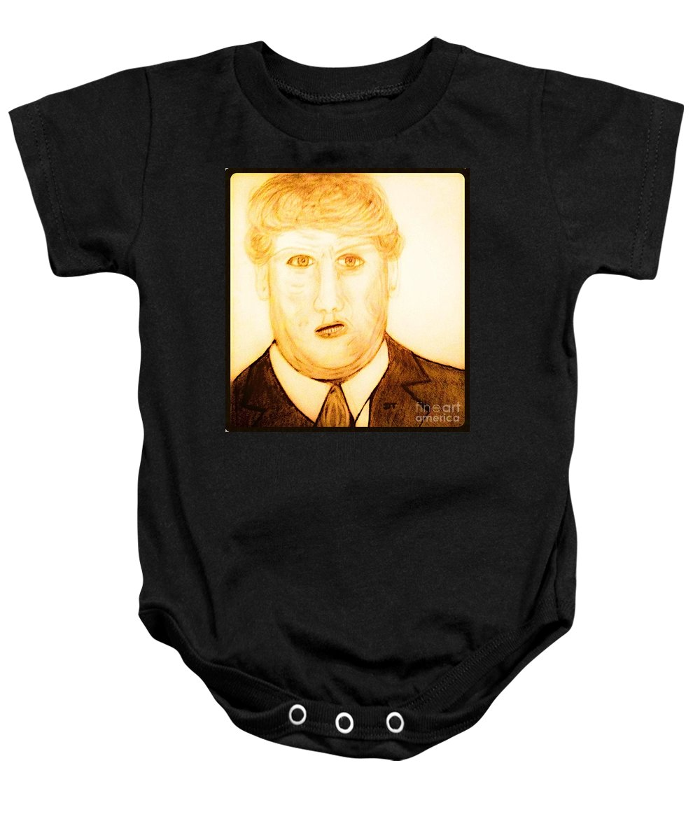 Guess Baby Onesie featuring the drawing A Run For The Race by Debra Lynch