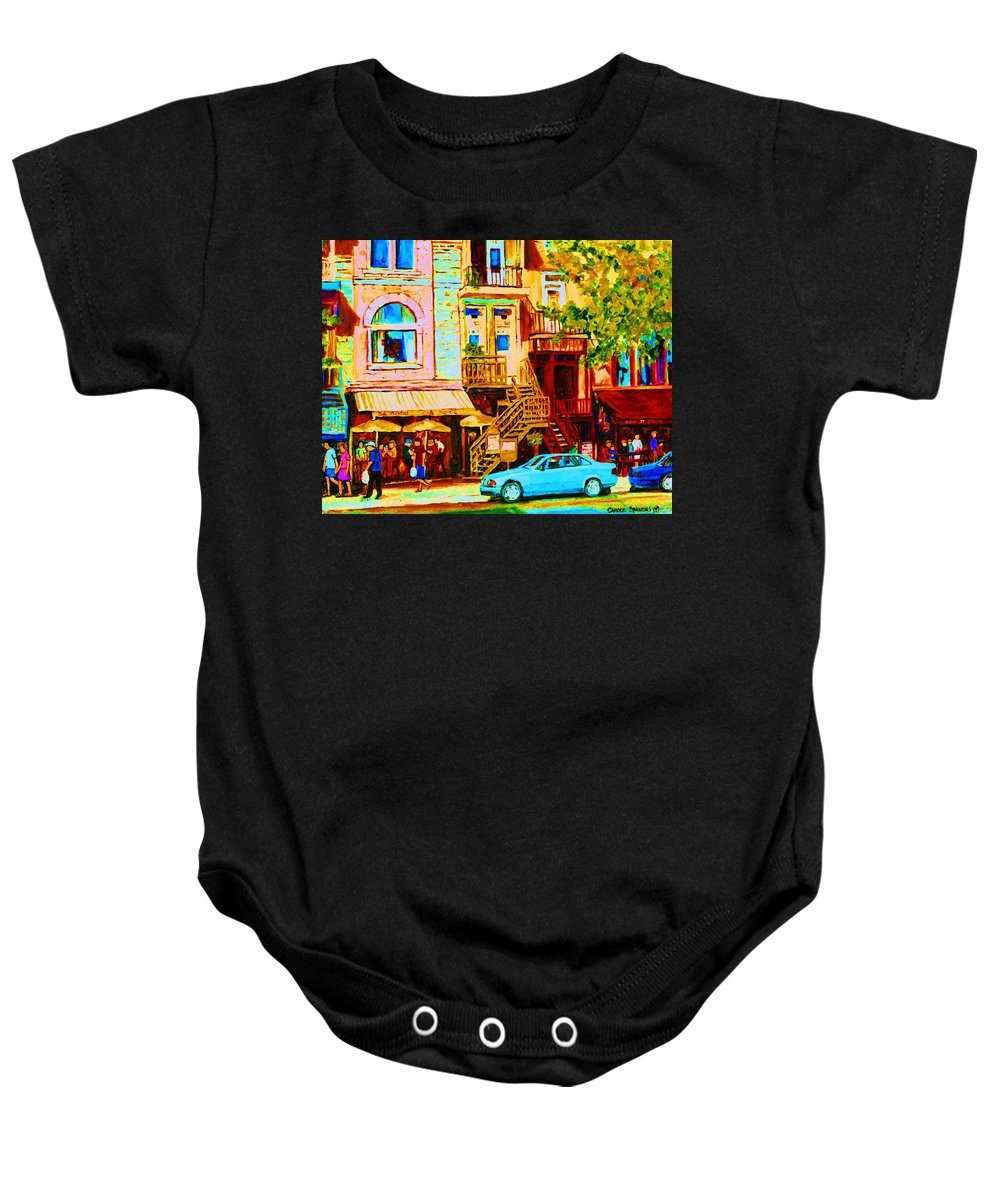 Cafe Art Baby Onesie featuring the painting Beautiful Cafe Soleil by Carole Spandau