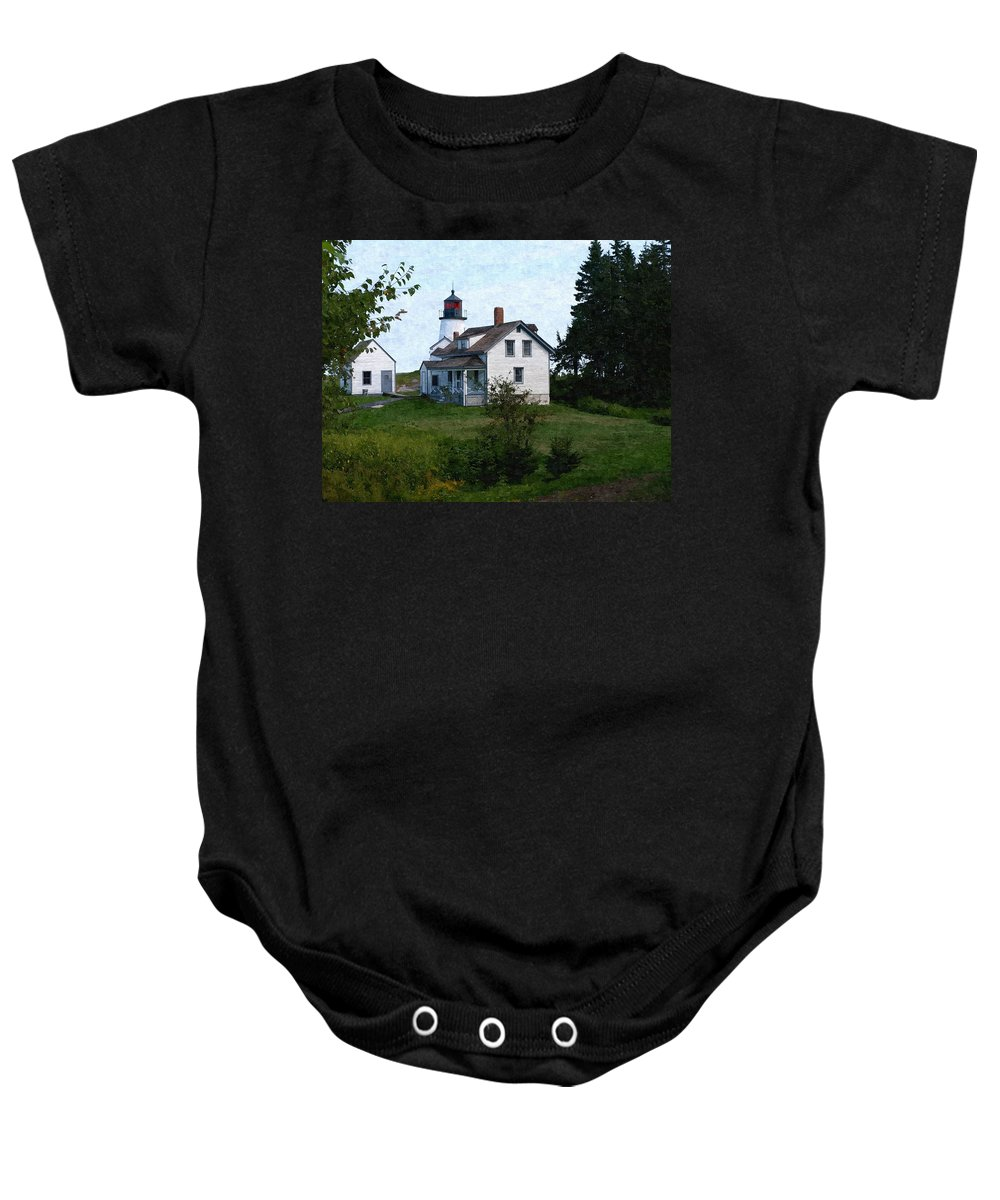 New England Lighthouse Baby Onesie featuring the photograph Burnt Island Maine by Nancie DeMellia
