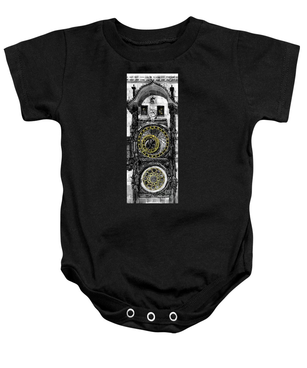 Geelee.watercolour Paper Baby Onesie featuring the painting Bw Prague The Horologue At Oldtownhall by Yuriy Shevchuk