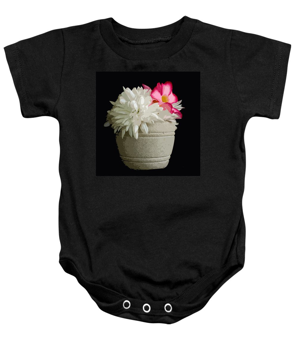 Snowball Baby Onesie featuring the painting Desert Rose  Chrysanthemum And Adenium Obesum by Allan Hughes
