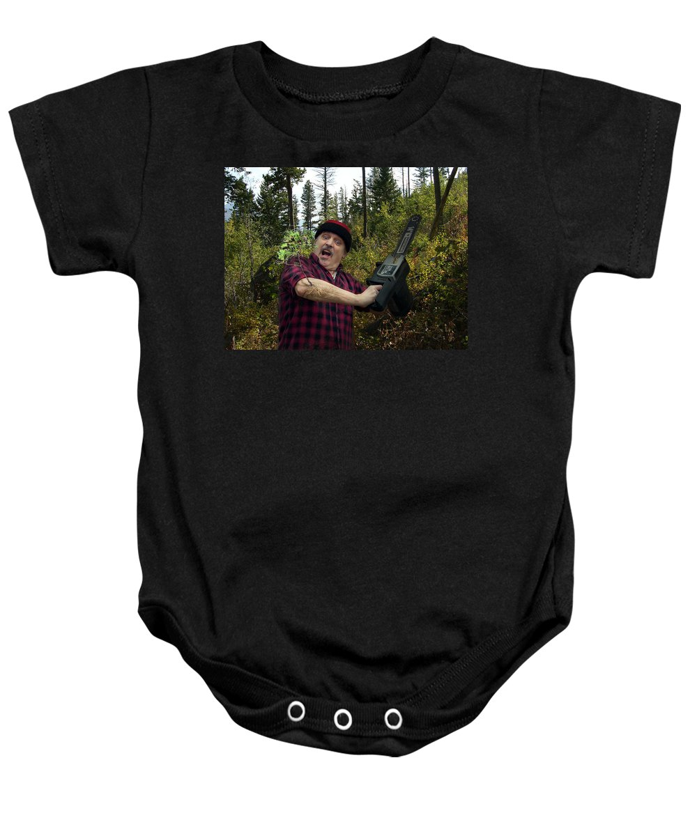 Surrealism Fantastic+realism Cloning Parasites Lumberjack Chainsaw Selfportrait Baby Onesie featuring the digital art I Am A Lumberjack I Am Ok by Otto Rapp