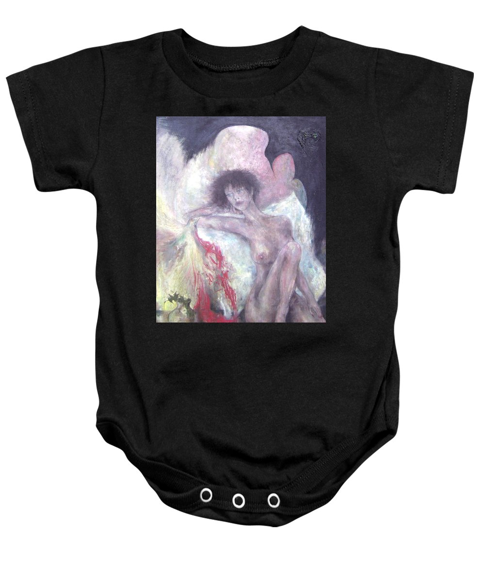 Imagination Baby Onesie featuring the painting I Was Near You by Wojtek Kowalski