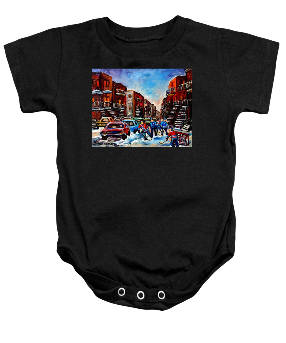 Montreal Baby Onesie featuring the painting Late Afternoon Street Hockey by Carole Spandau