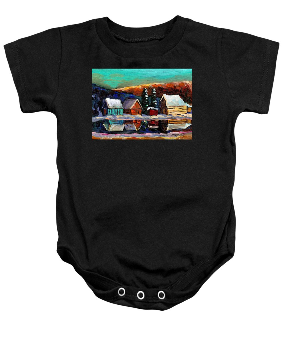 Quebec Winter Landscape Baby Onesie featuring the painting Laurentian Landscape Quebec Winter Scene by Carole Spandau
