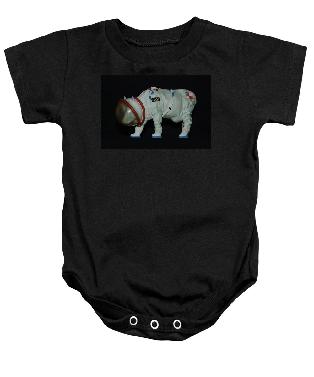 Astronauts Baby Onesie featuring the photograph Maurice The Space Cow Boy by Rob Hans