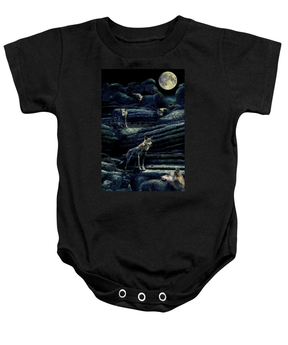 Wolf Baby Onesie featuring the photograph Moonlit Wolf Pack by Mal Bray