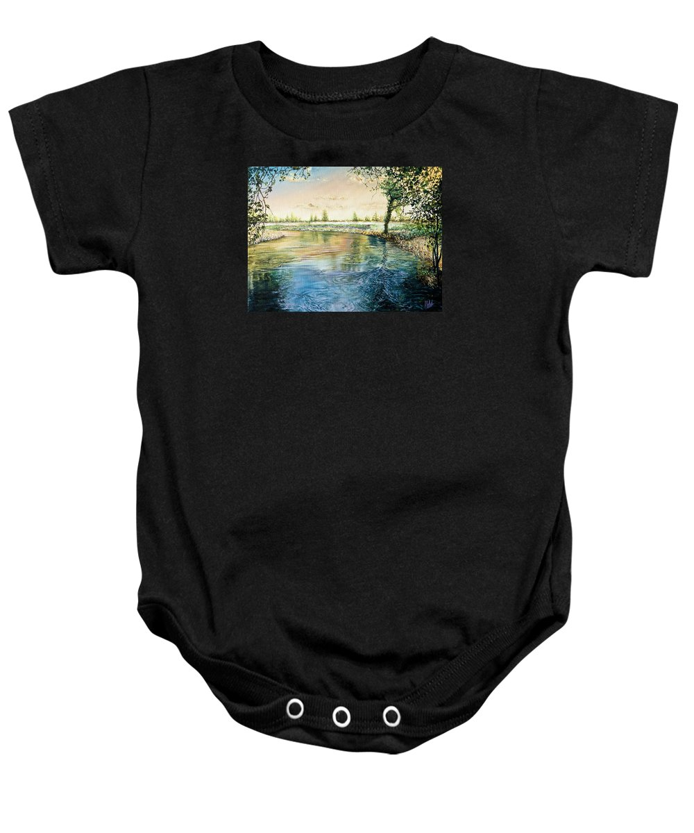 Branches Baby Onesie featuring the painting River Bend by Michel Angelo Rossi
