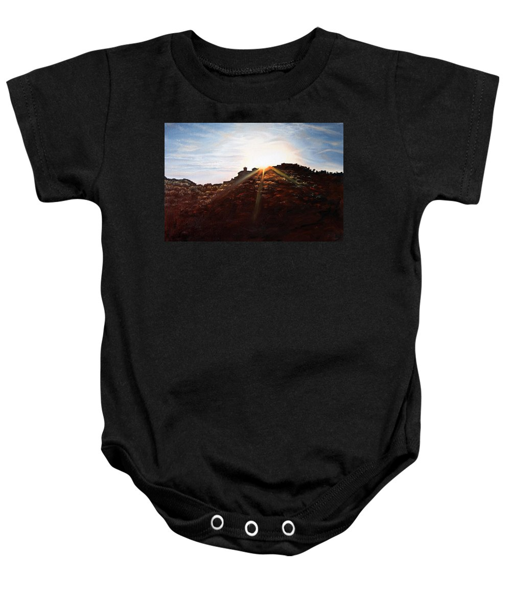 Landscapes Baby Onesie featuring the painting Silhouetted Mountain by Michel Angelo Rossi