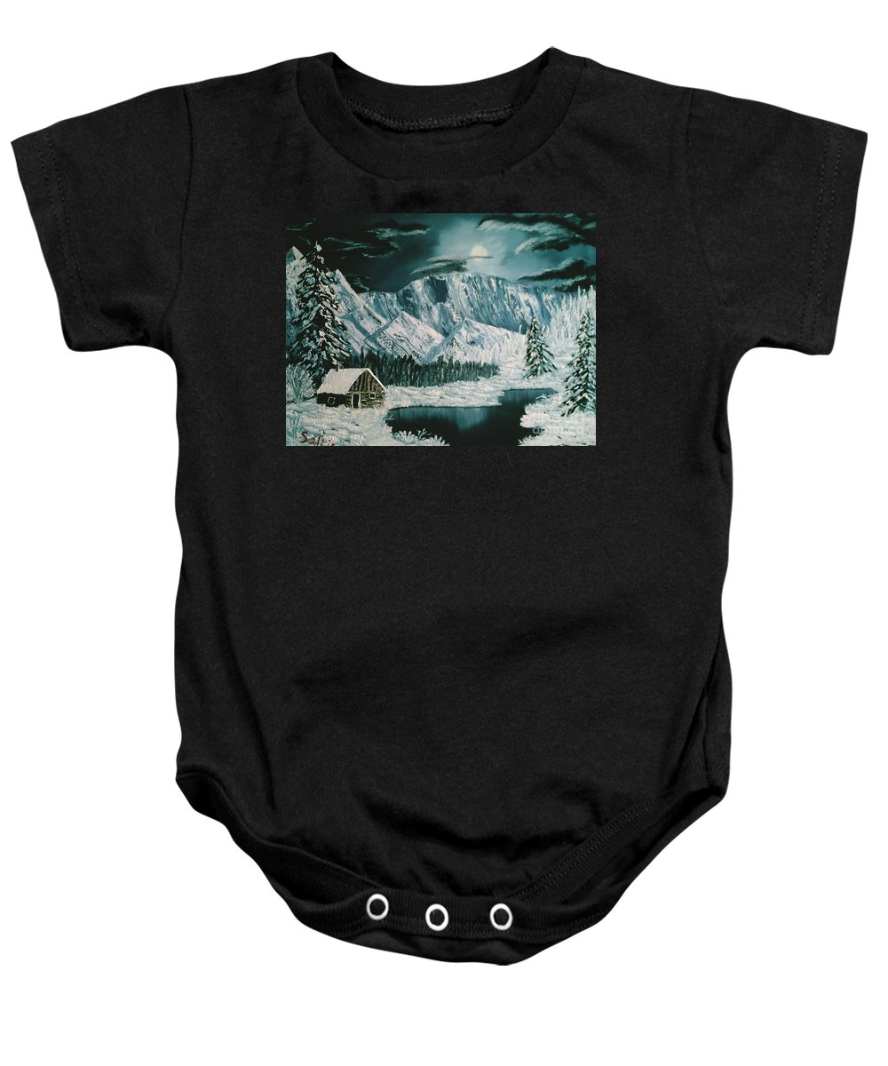 Winter Landscape Baby Onesie featuring the painting Winter Moon by Jim Saltis