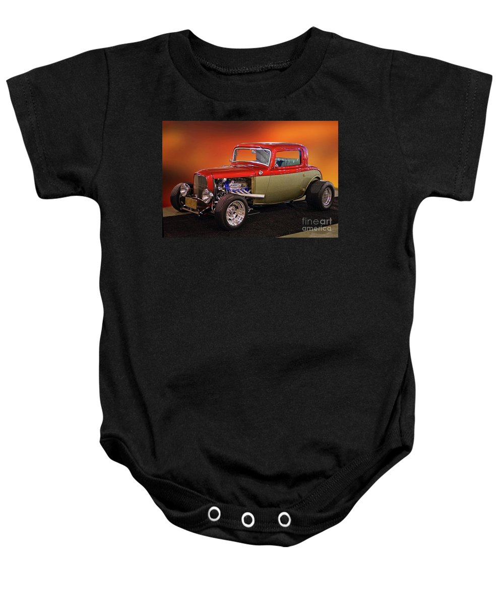 Hot Rod Key Words Baby Onesie featuring the photograph 1932 Ford 'three Window' Coupe by Dave Koontz