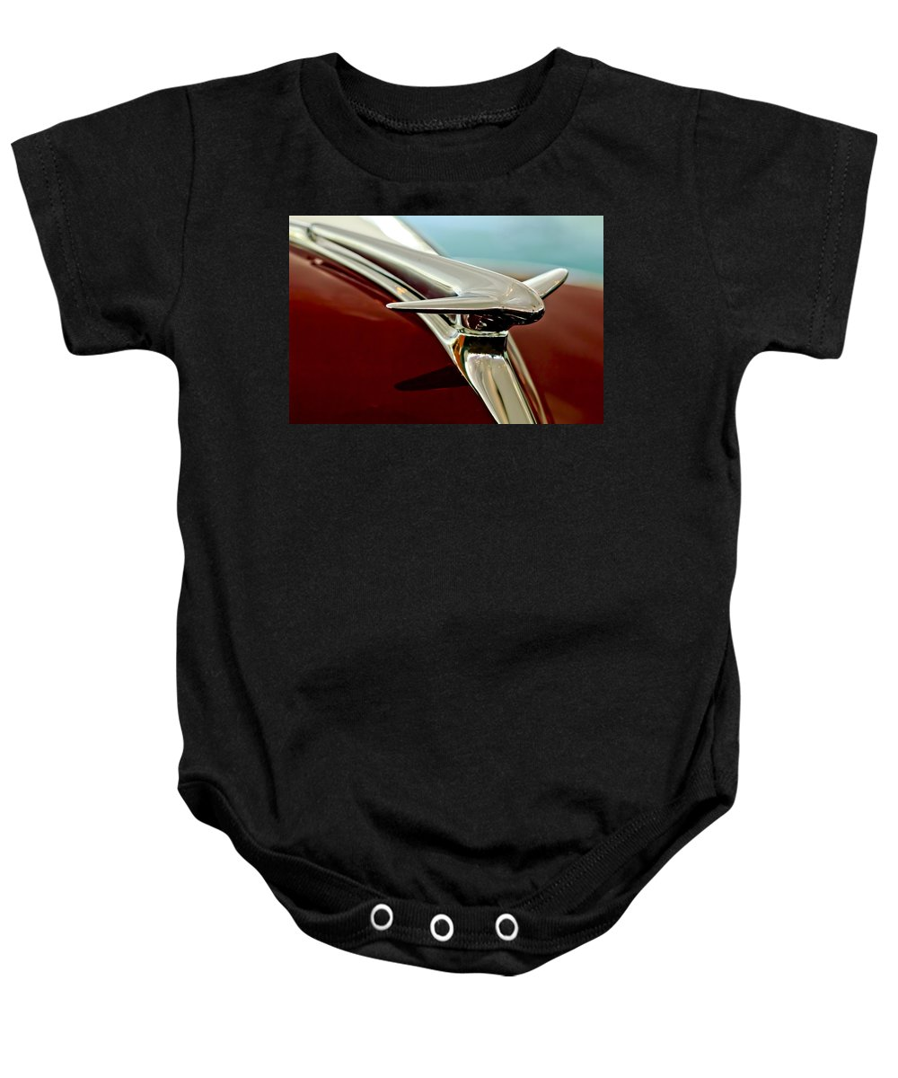 1938 Lincoln Zephyr Baby Onesie featuring the photograph 1938 Lincoln Zephyr Hood Ornament by Jill Reger