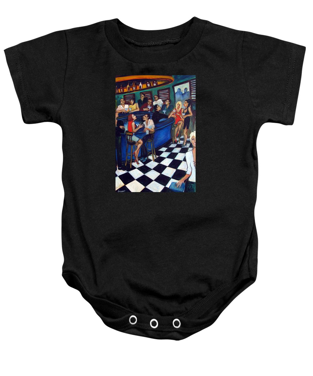 Chicago Style Bar Baby Onesie featuring the painting 32 East by Valerie Vescovi
