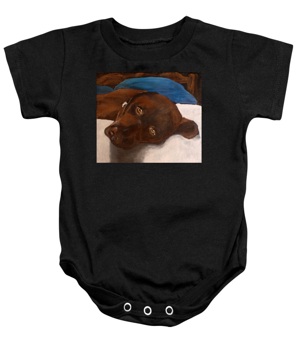 Chocolate Lab Baby Onesie featuring the painting Abby by Carol Russell