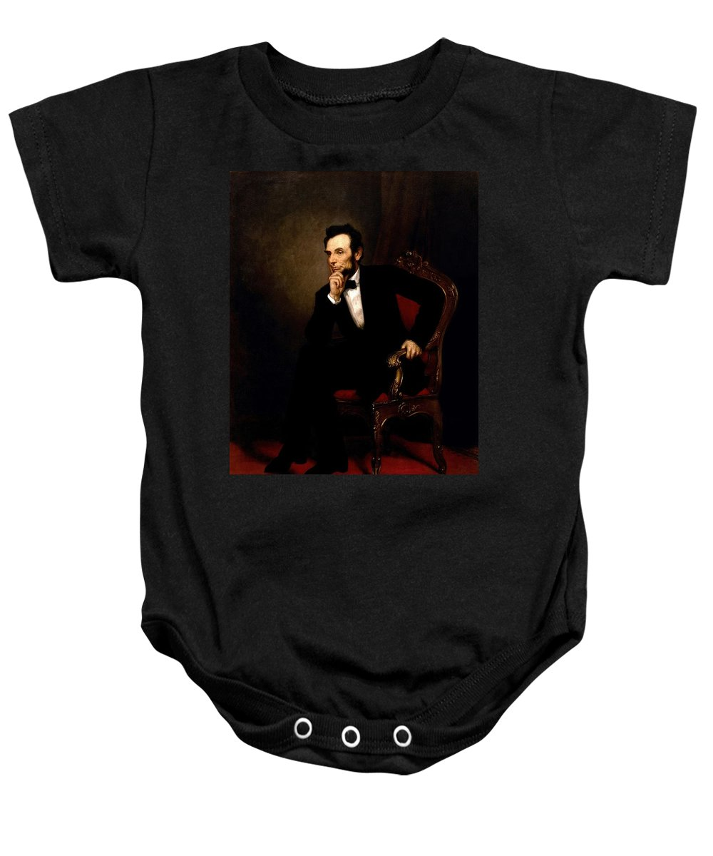 Abraham Baby Onesie featuring the painting Abraham Lincoln by George Peter Alexander Healy