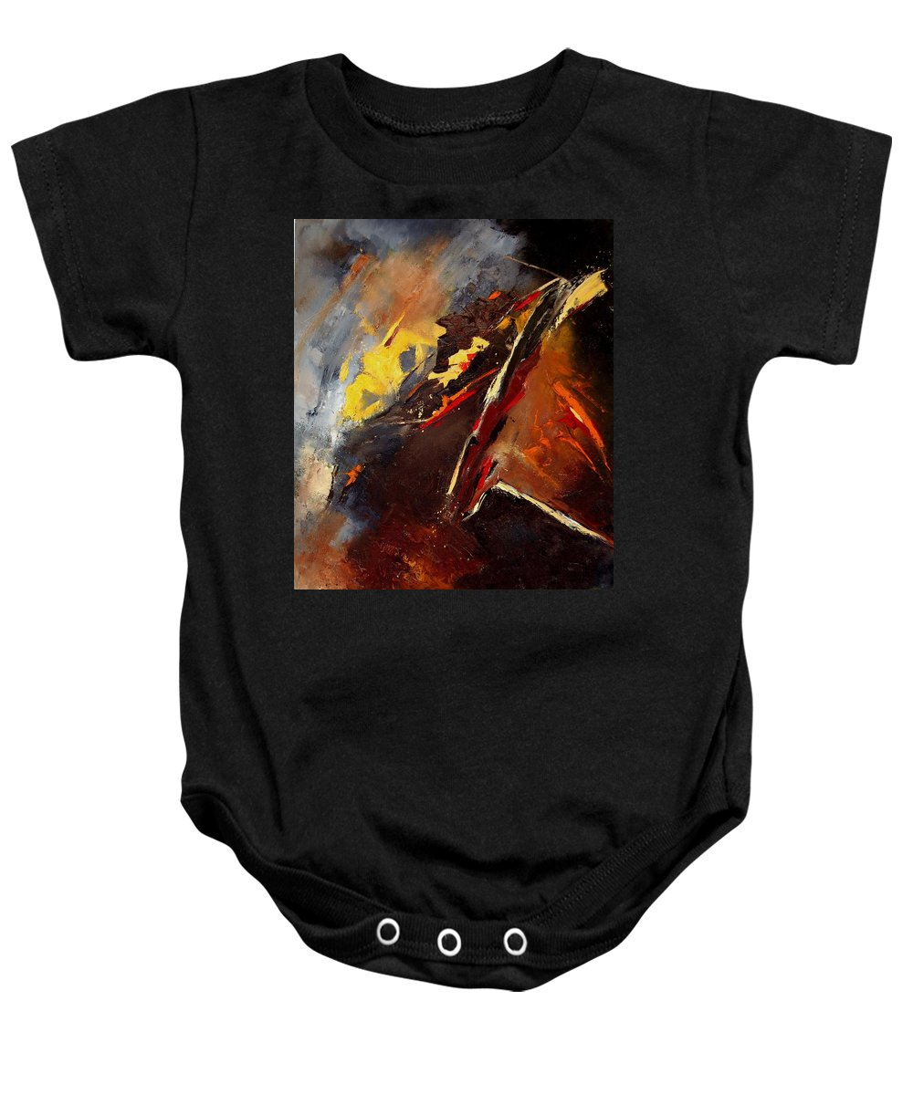 Abstract Baby Onesie featuring the painting Abstract 12 by Pol Ledent