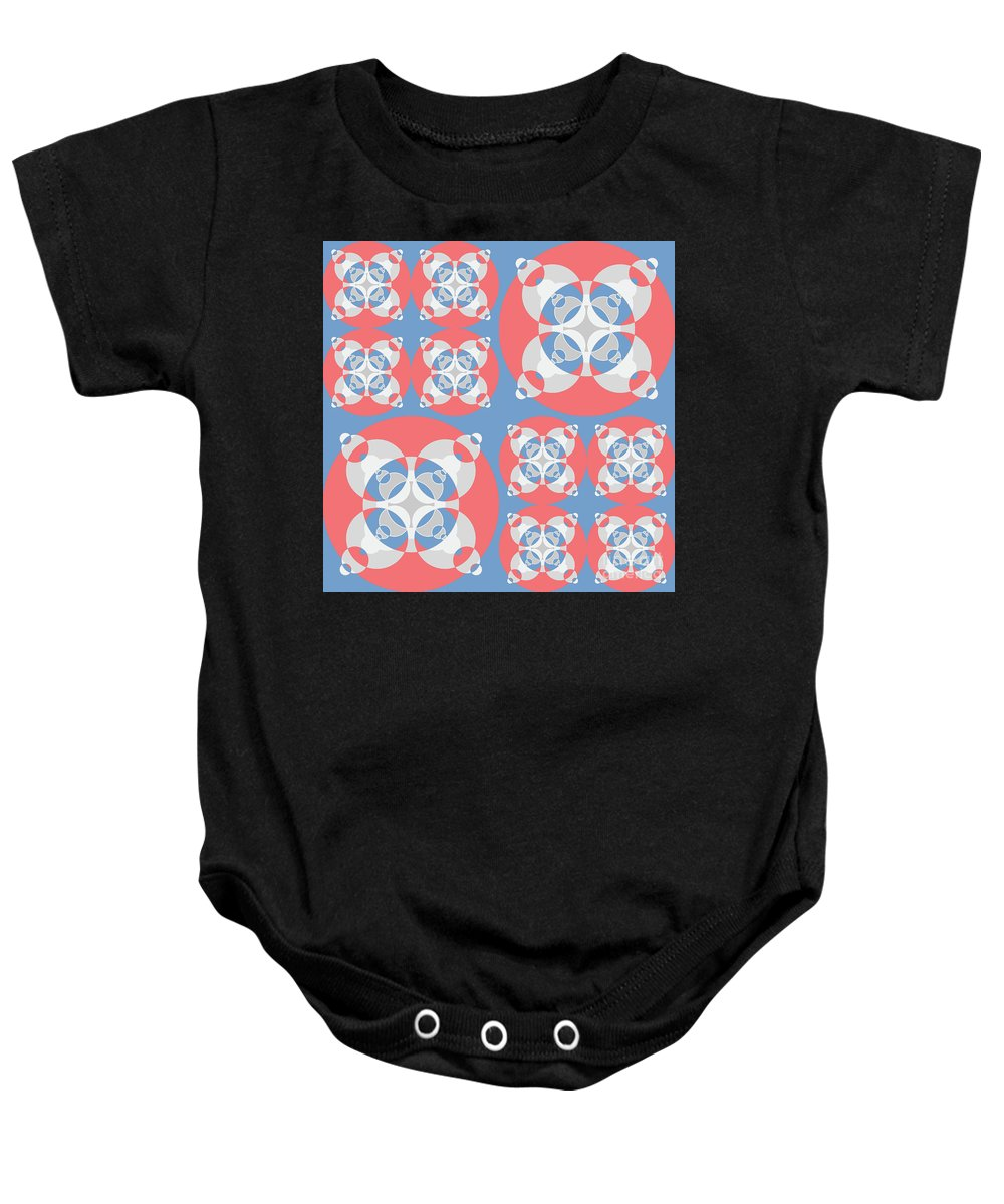 Mixedmediaart Baby Onesie featuring the digital art Abstract Mandala White, Pink And Blue Pattern For Home Decoration by Drawspots Illustrations