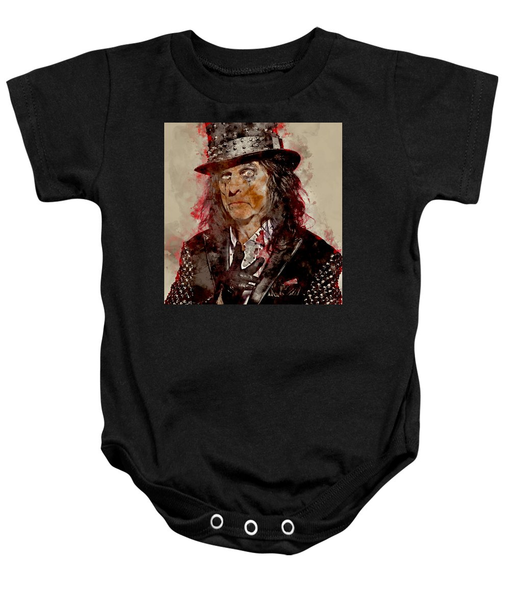 Alice Cooper Baby Onesie featuring the mixed media Alice Cooper by Marvin Blaine