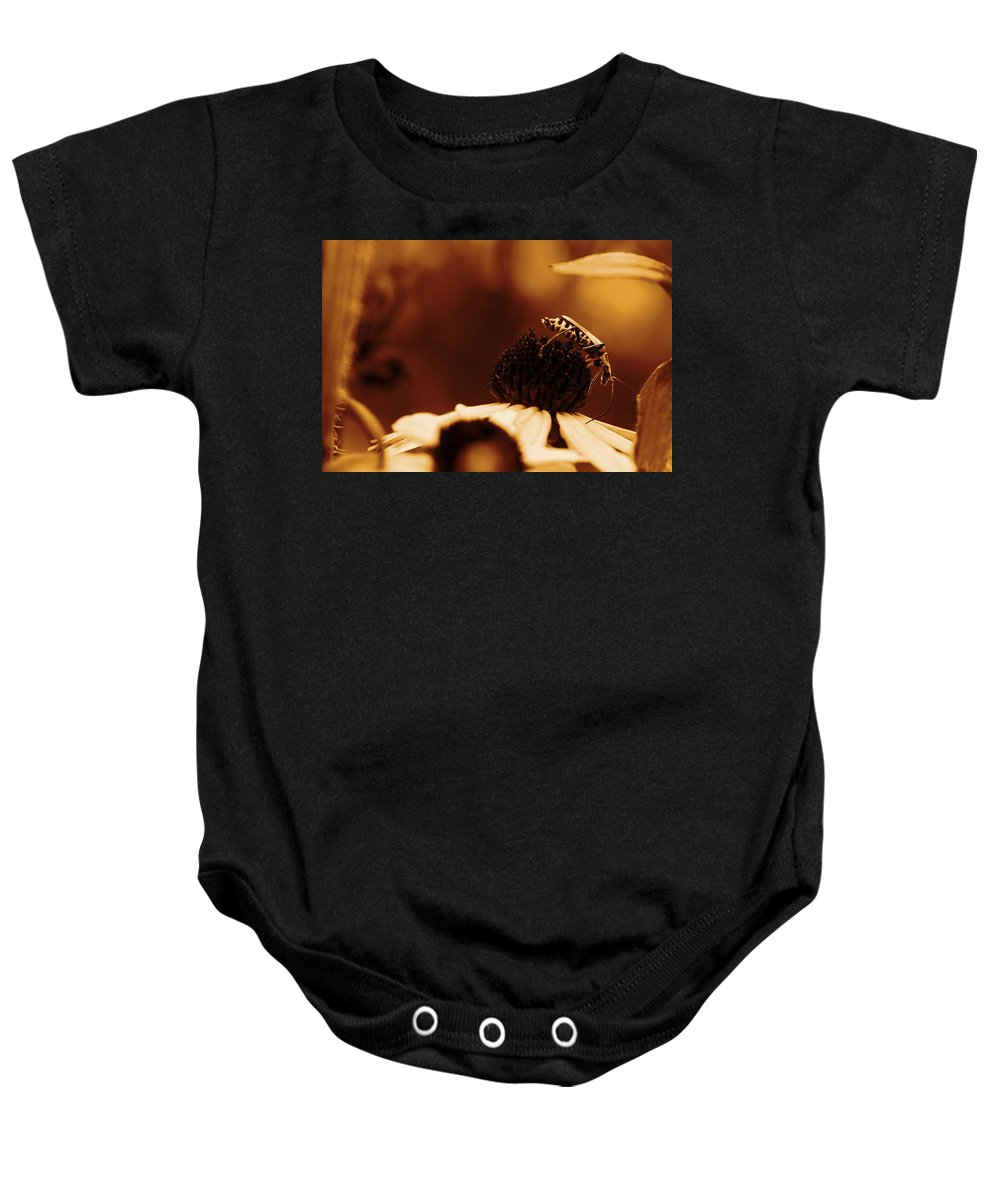 Leatherwing Baby Onesie featuring the photograph Anyone Else Down There - Gold by Angela Rath