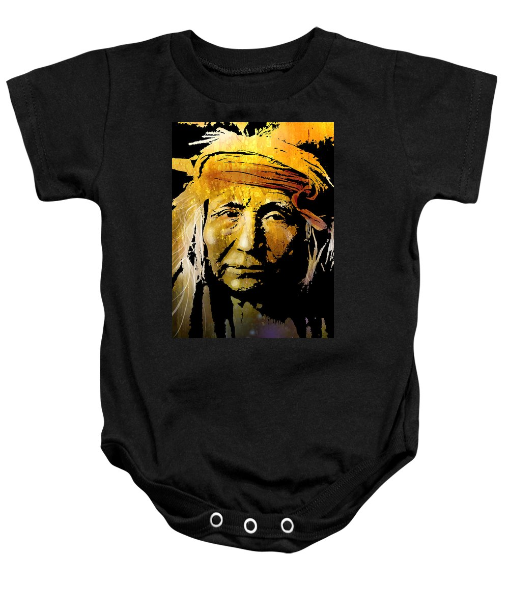 Native American Baby Onesie featuring the painting Apache Brave by Paul Sachtleben