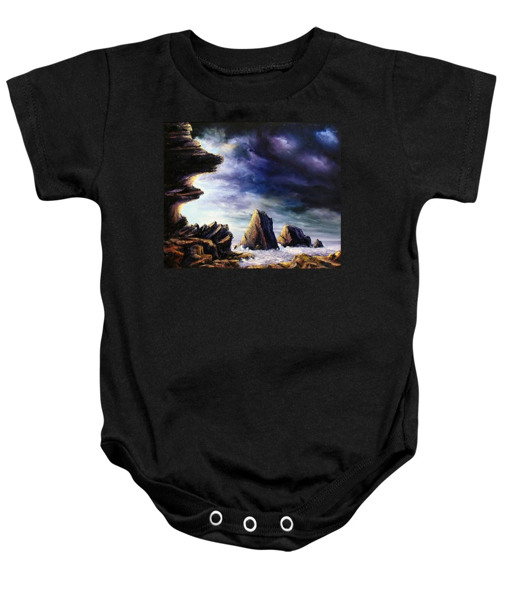 Seascapes.seascape Sunset Baby Onesie featuring the painting Approaching Storm by John Cocoris