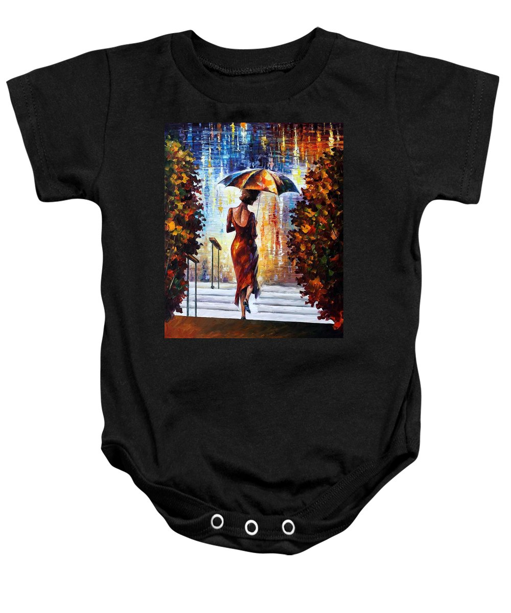 Afremov Baby Onesie featuring the painting At The Steps by Leonid Afremov