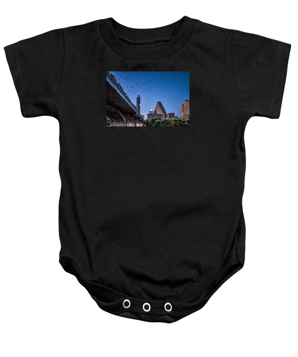 Austin Baby Onesie featuring the photograph Austin Bat Watch by Tod and Cynthia Grubbs