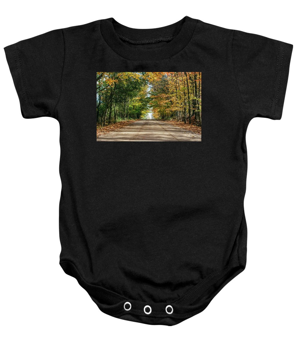 35mm Film Baby Onesie featuring the photograph Autumn Backroad by John McGraw
