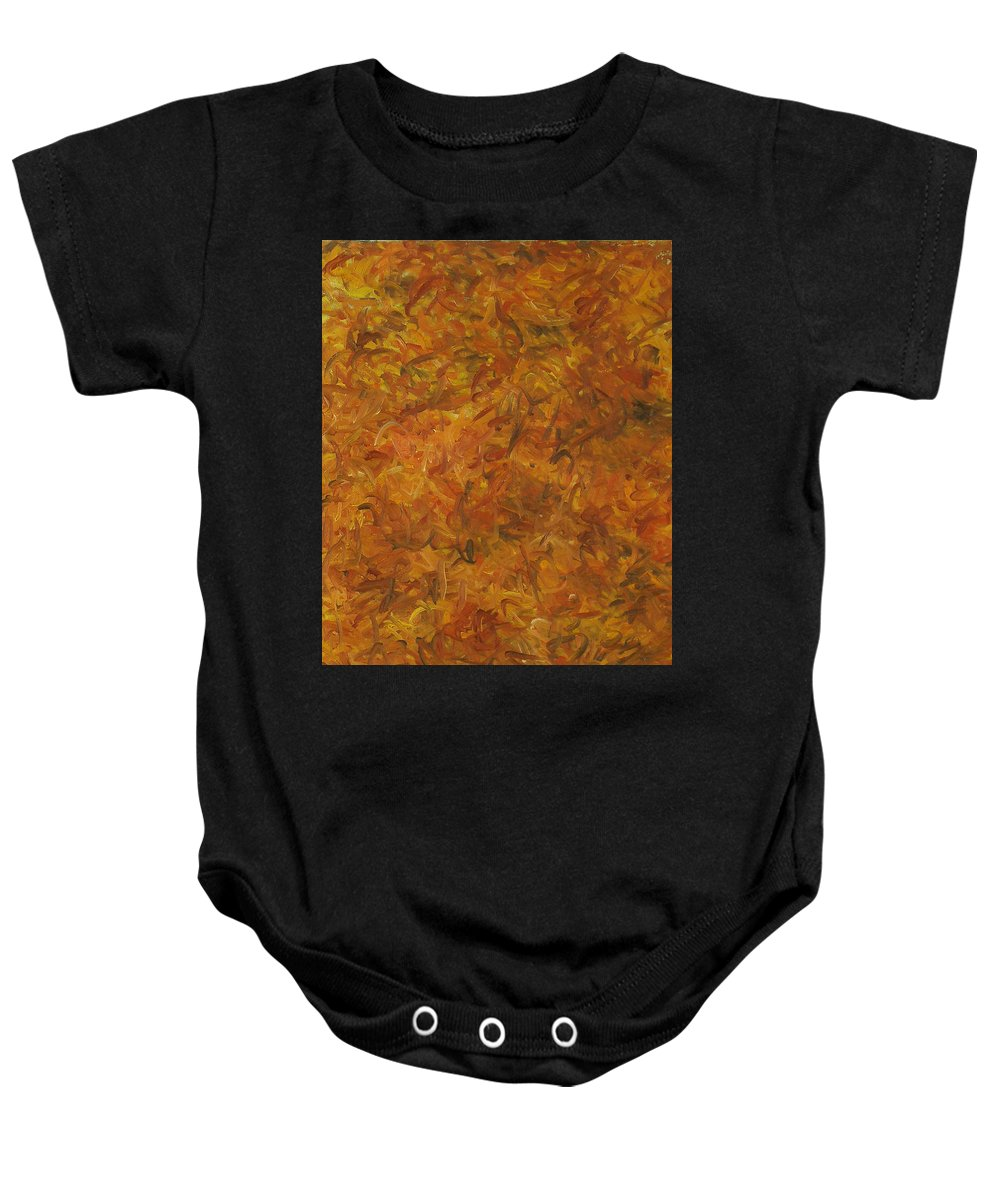 Sunlight Baby Onesie featuring the painting Autumn Leaves by Robert Nizamov