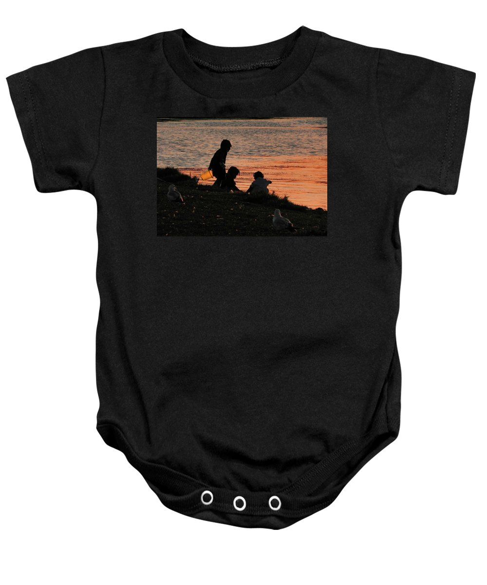 Seagulls Baby Onesie featuring the photograph Beach Combers by Francesa Miller