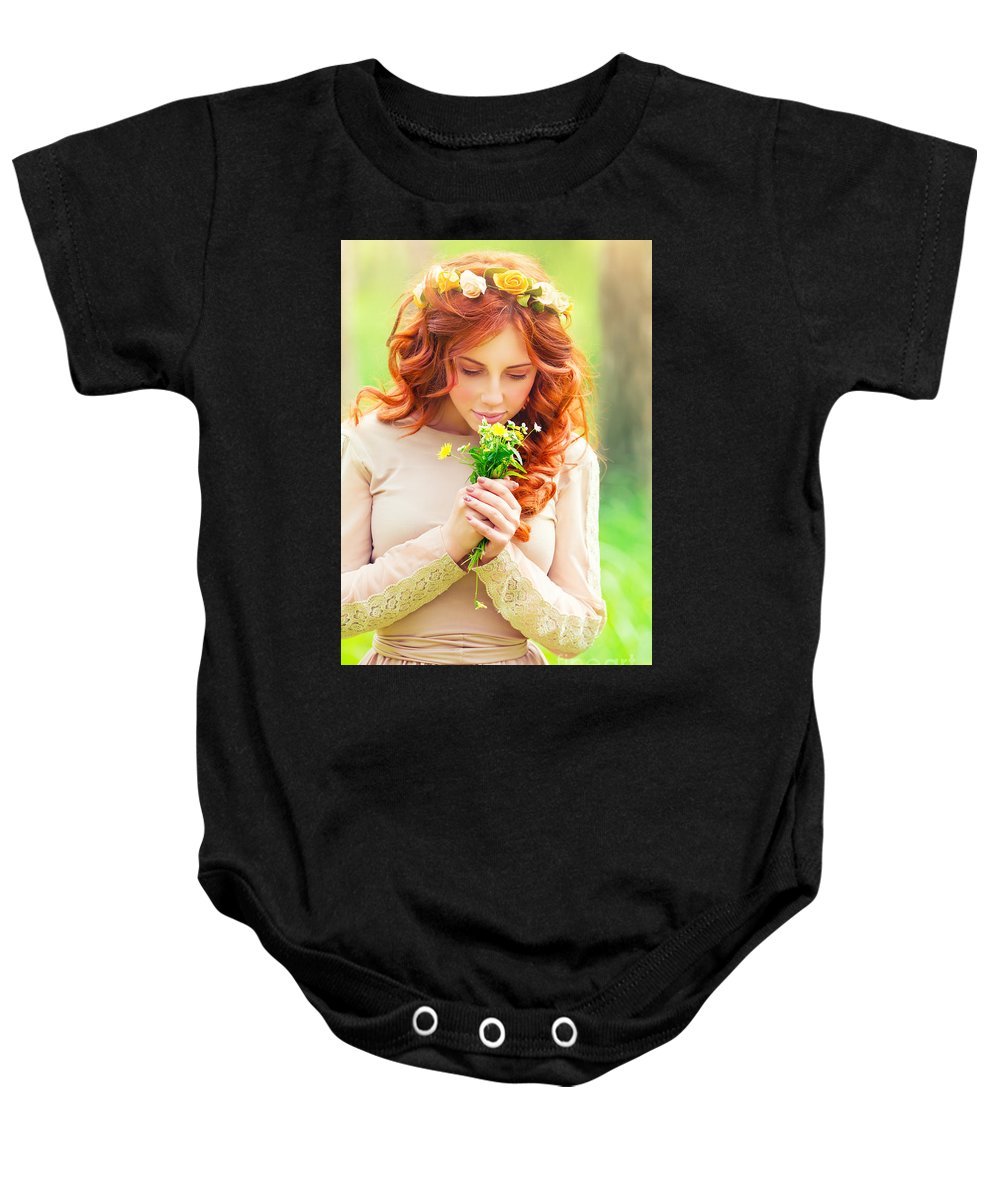 Adult Baby Onesie featuring the photograph Beautiful Romantic Girl by Anna Om
