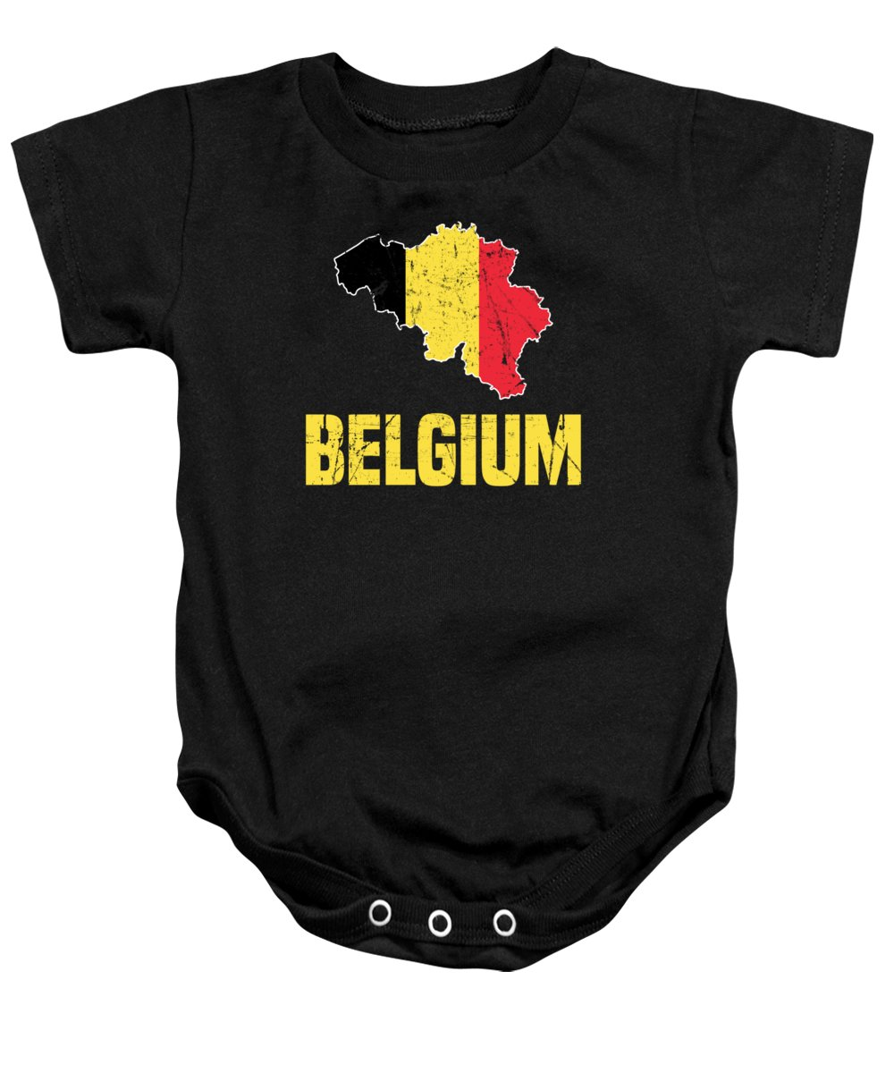 Belgium Baby Onesie featuring the digital art Belgium Flag Apparel by Michael S