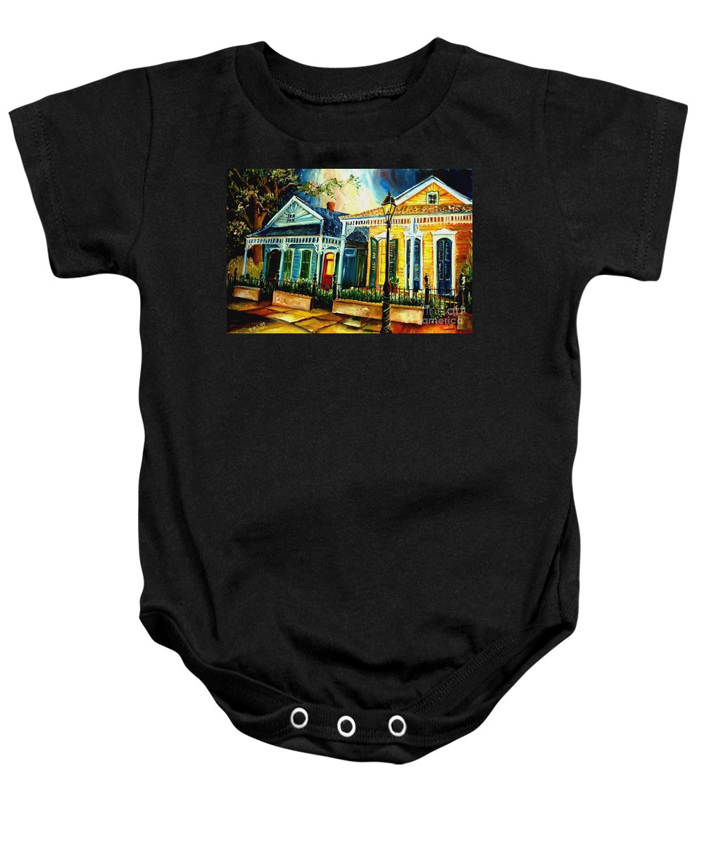 New Orleans Baby Onesie featuring the painting Big Easy Neighborhood by Diane Millsap