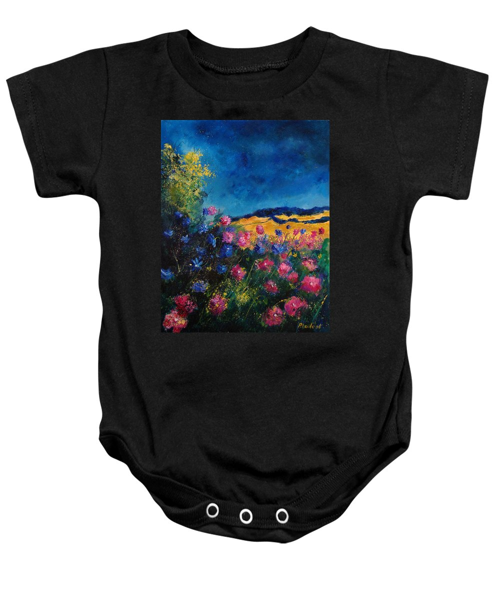 Flowers Baby Onesie featuring the painting Blue And Pink Flowers by Pol Ledent