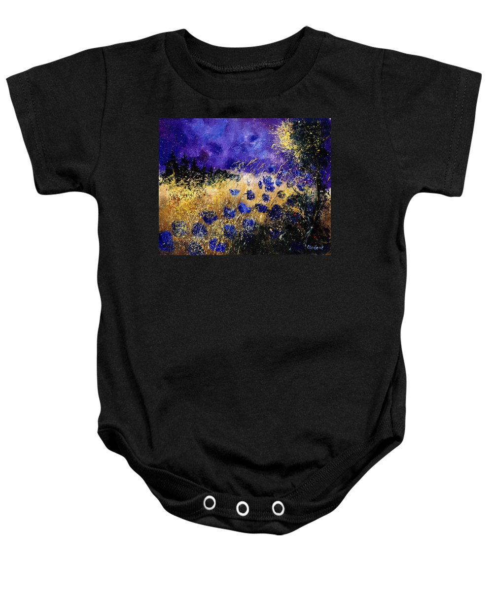 Poppies Baby Onesie featuring the painting Blue Cornflowers by Pol Ledent