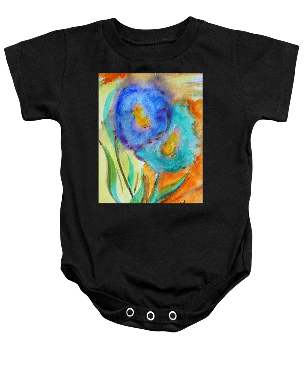 Flowers Baby Onesie featuring the painting Blue Flowers by Luiza Vizoli