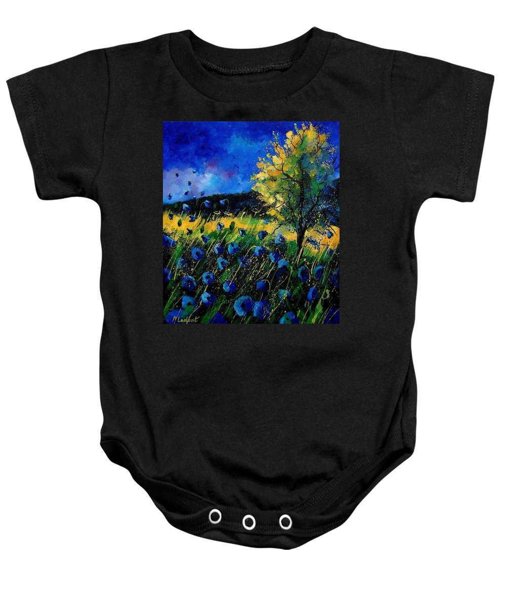 Poppies Baby Onesie featuring the painting Blue Poppies by Pol Ledent