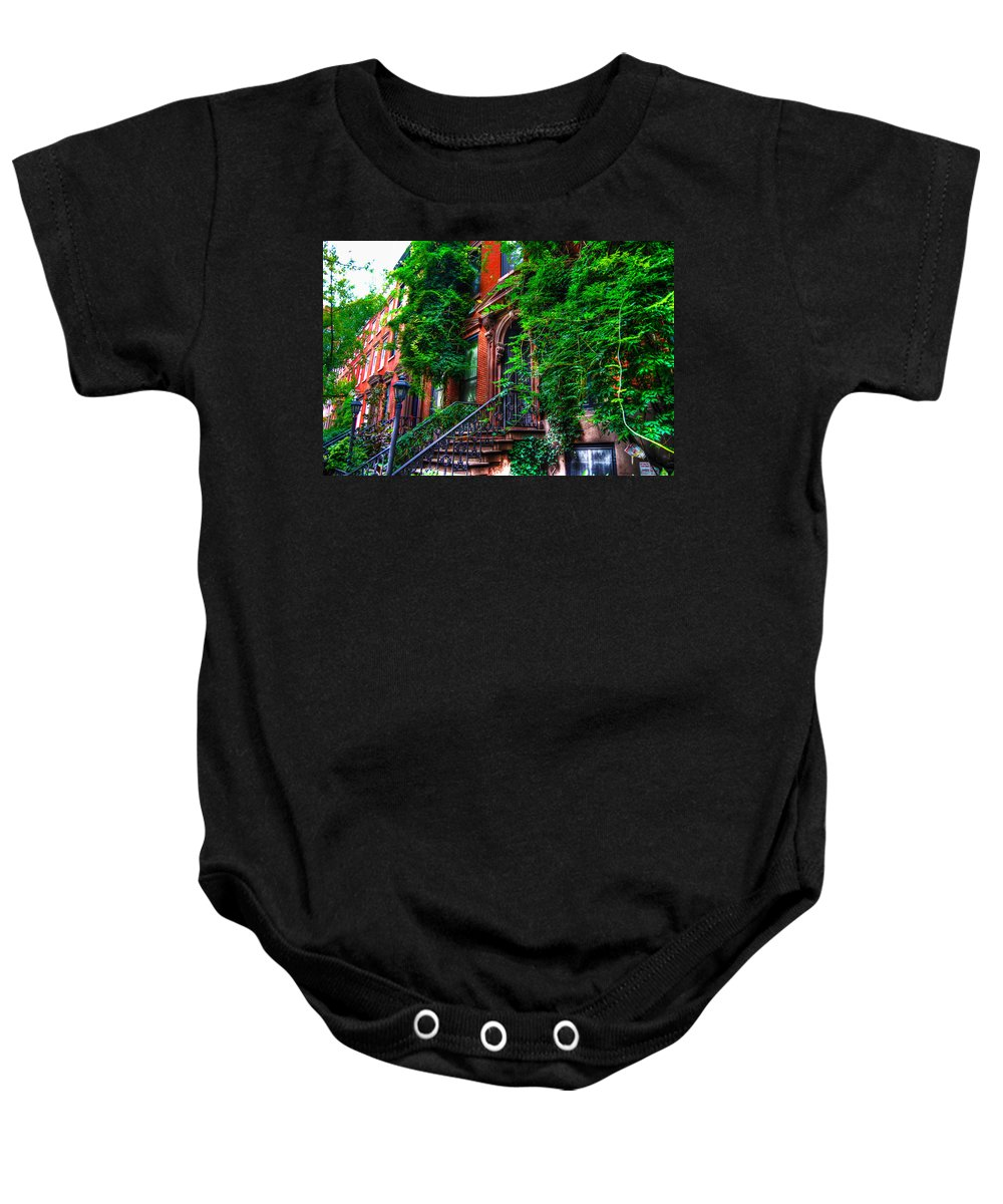 Townhouse Baby Onesie featuring the photograph Botanical Village by Randy Aveille