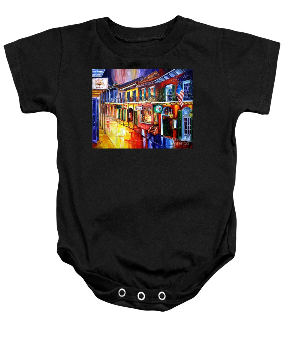 New Orleans Baby Onesie featuring the painting Bourbon Street Red by Diane Millsap