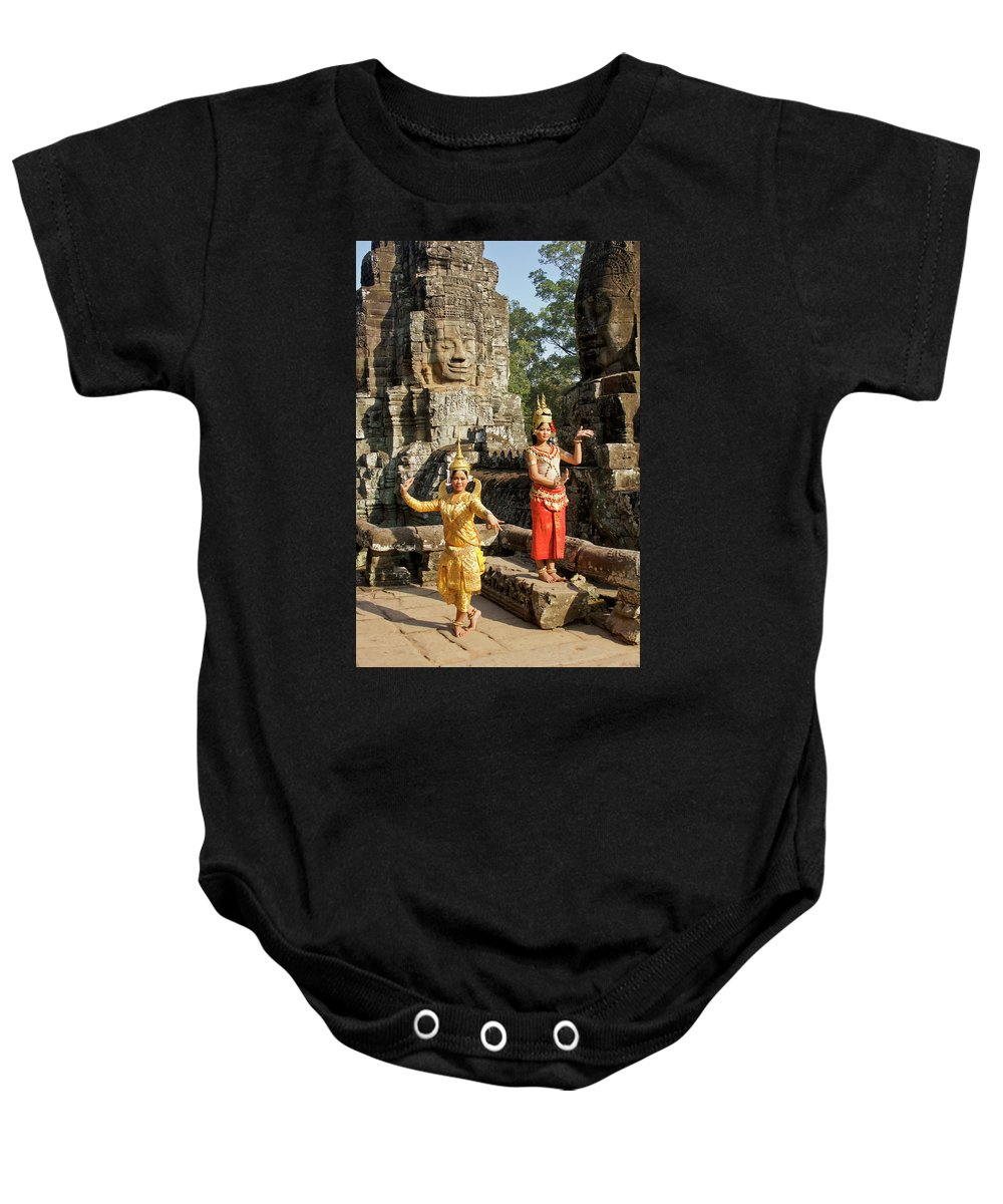 Asia Baby Onesie featuring the photograph Cambodian Dancers At Angkor Thom by Michele Burgess