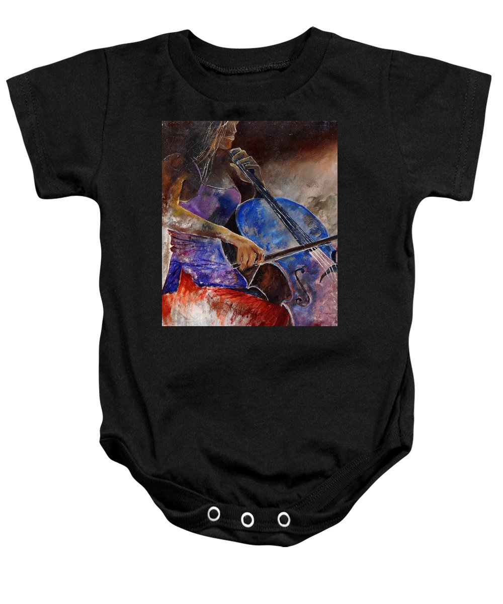 Music Baby Onesie featuring the painting Cello Player by Pol Ledent