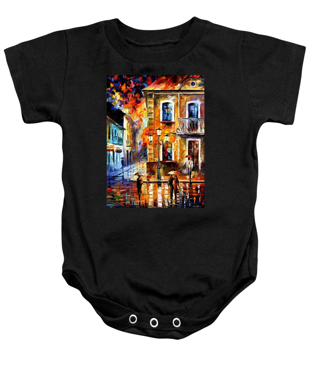 Afremov Baby Onesie featuring the painting Charming Night by Leonid Afremov