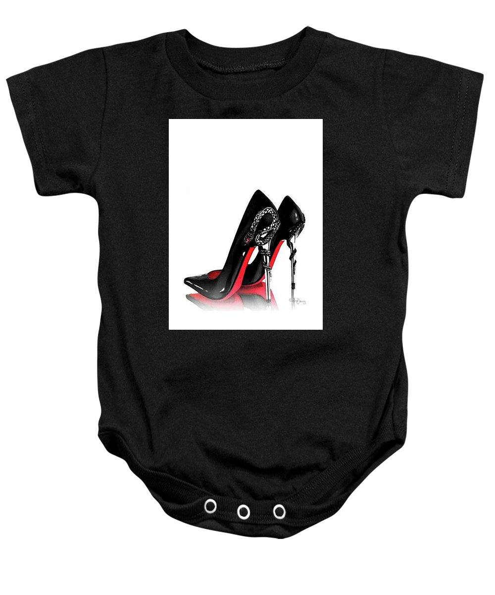 346b777b0 Christian Louboutin Shoes Poster Baby Onesie featuring the mixed media  Christian Louboutin Shoes Print by Del