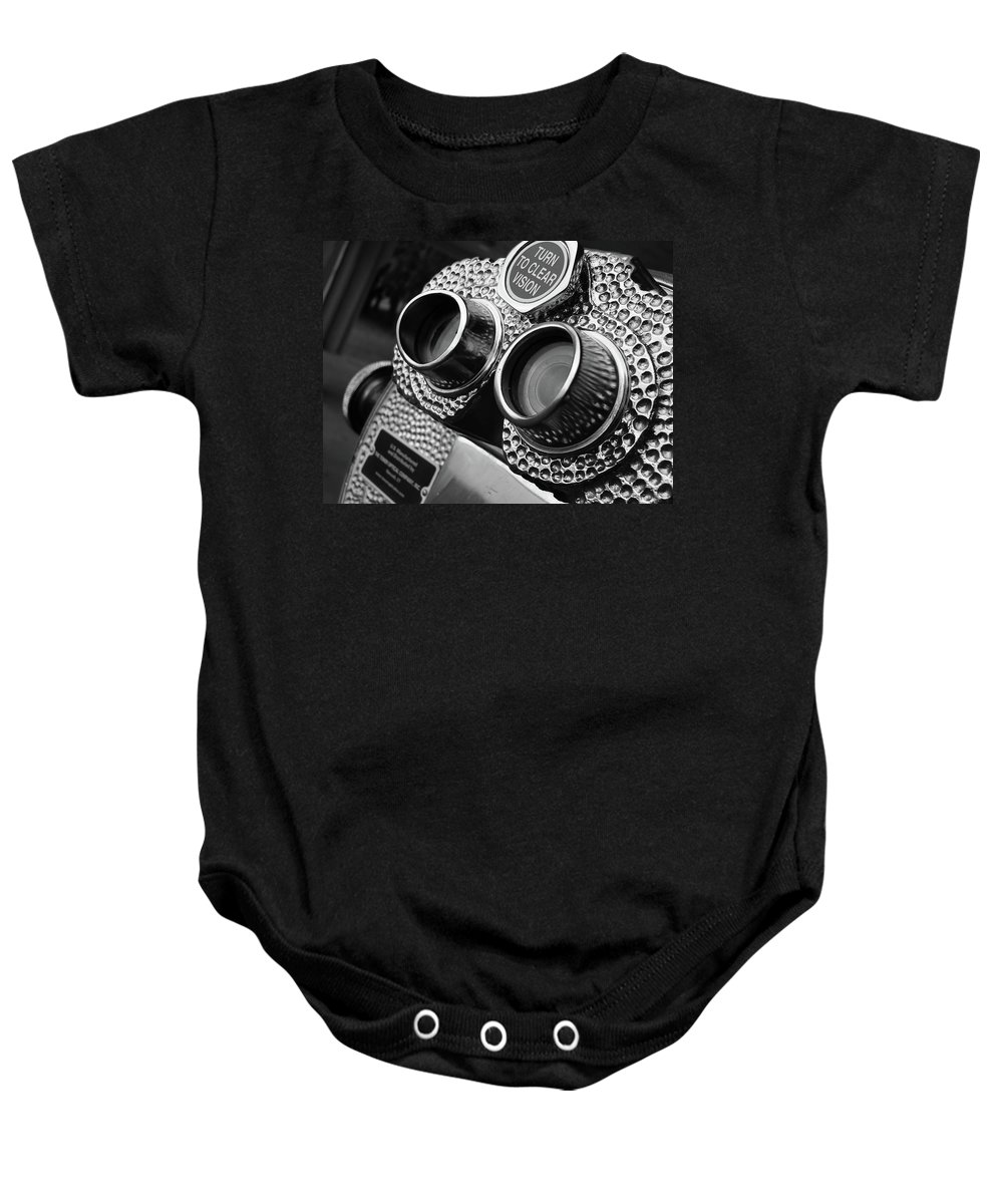 Black Baby Onesie featuring the photograph Clear Vision by Angela Wright