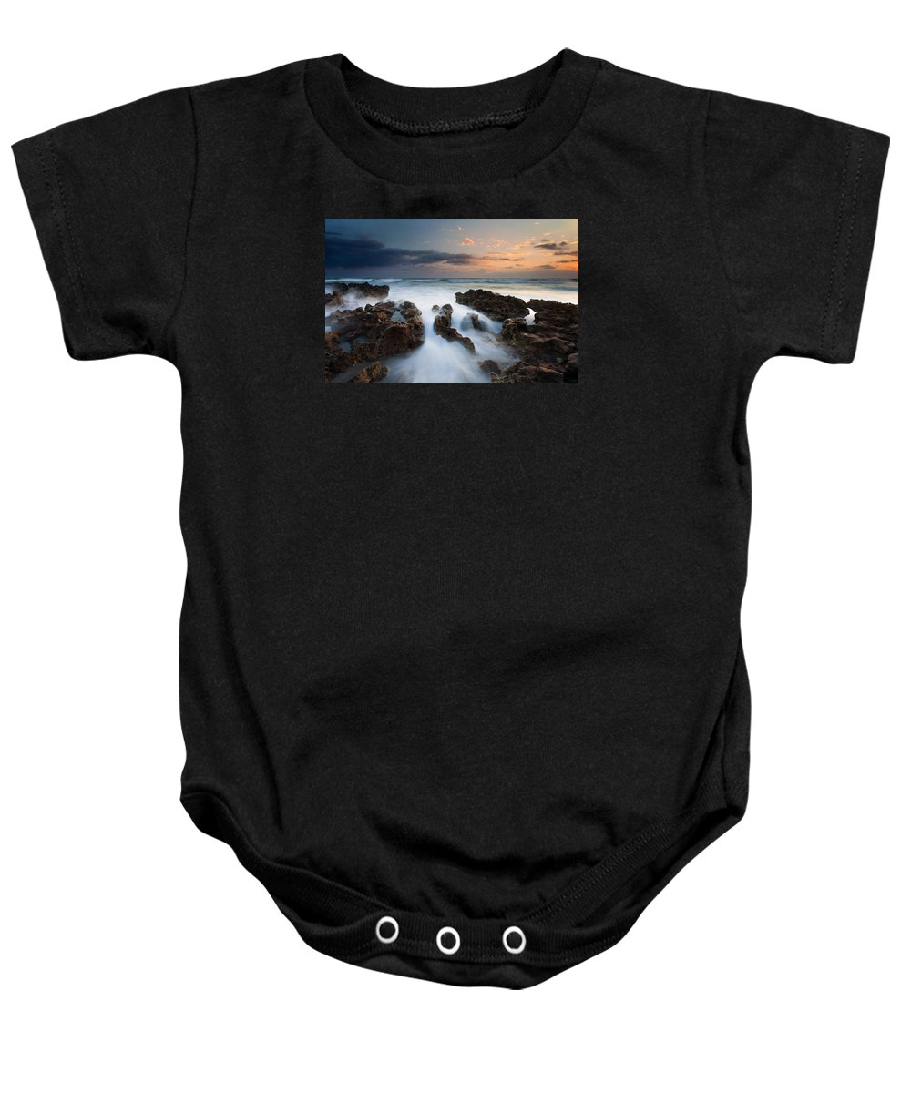 Coral Cove Baby Onesie featuring the photograph Coral Cove Dawn by Mike Dawson