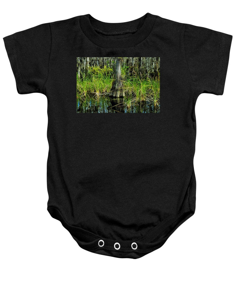 Cypress Trees Baby Onesie featuring the painting Cypress Tree by David Lee Thompson